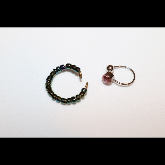 Set Of 2 Ear Cuffs Fake Belly Button Piercing Clip